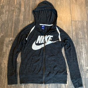 Gray Nike zip up hoodie with white check